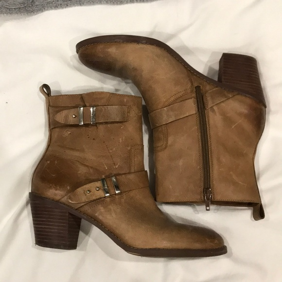 8dabeb587 Saks Fifth Avenue Shoes | Gray By Tan Leather Booties | Poshmark